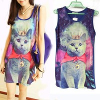 U18 SPACE Galaxy Cat graphic print t shirt long rock punk Jumper top Vest Summer