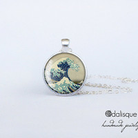 The Great Wave off Kanagawa Glass Pendant Silver Hokusai Art Painting Round Circle Necklace Jewelry Birthday Gift 1 inch