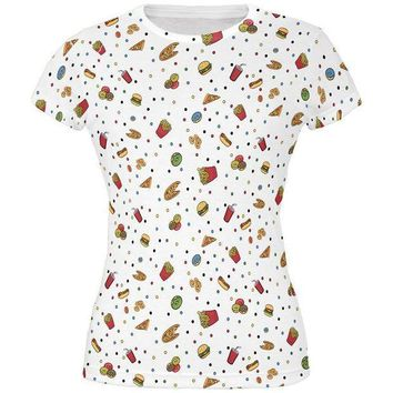 CREYON Junk Food Pattern All Over Juniors T Shirt
