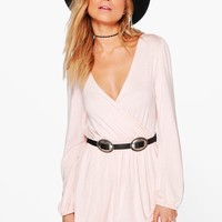 Adriana Jersey Long Sleeve Wrap Dress | Boohoo
