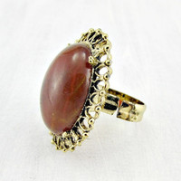 Vintage Amber Cocktail Ring, Marbled Amber Lucite Cabochon Ring, Gold Filigree Ring, Adjustable Statement Ring, 1960s Vintage Jewelry