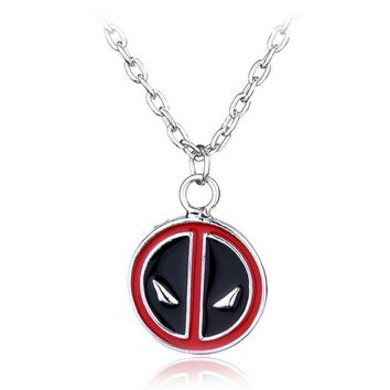 Marvel Comics Deadpool Necklace Personality Red and Black Classic Pendant Vintage Fashion Round Dome Necklaces Jewelry Statement