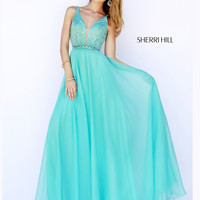 Flowing Sherri Hill V Neck Prom Gown 32150