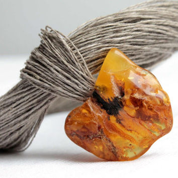 Ecologic Fiber Necklace Baltic Amber Linen Organic Pure Yellow Summer Primitive Jewelry Huge Ethno Style Stone Age Neolitic