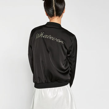 EMBROIDERED FLOWING BOMBER JACKET