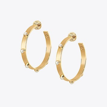 Tory Burch Studded Pearl Hoop Earring