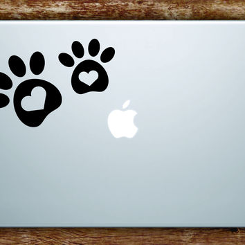 Dog Paw Hearts V2 Laptop Apple Macbook Quote Wall Decal Sticker Art Vinyl Animal Puppy Rescue Cute Love