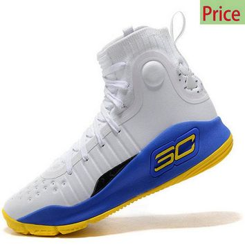 Size 10 Mens Under Armour Curry 4 Mid Basketball Shoes White Royal Blue Lemon Yellow sneaker