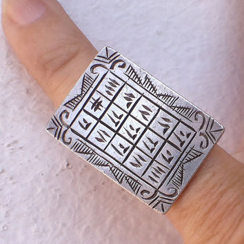 Tuareg pure solid Silver Protection Ring with Tifinagh, Diameter 1.7 cm  Size US 6 1/2