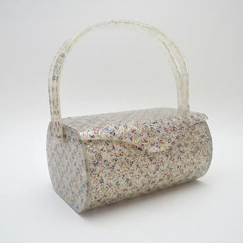 Vintage Wilardy Lucite Purse, Spectacular Fireworks Confetti Lucite Handbag, Silver Red Blue Flecks with Metallic Shards, 1950s