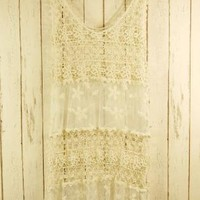 Off-white Day Dress - Retro Lace Sleeveless Crochet Dress | UsTrendy