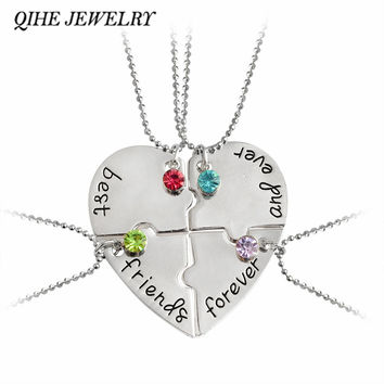 "QIHE JEWELRY 4pcs set ""best friend forever and ever"" BFF Friend Necklace Set 4 Pieces Heart Shape Puzzle Hand Stamped Friendship"