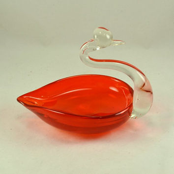 Murano Orange Art Glass Swan - Candy Dish - Bowl or Candle Holder - Venician Blown Glass