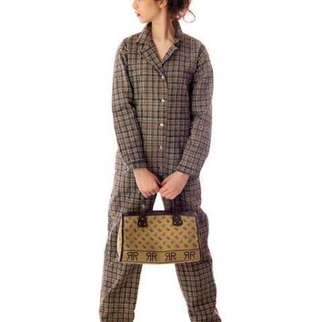 Vintage Marimekko Plaid Jumpsuit Coveralls 1970s Small