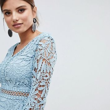 Boohoo Crochet Lace Long Sleeve Skater Dress at asos.com