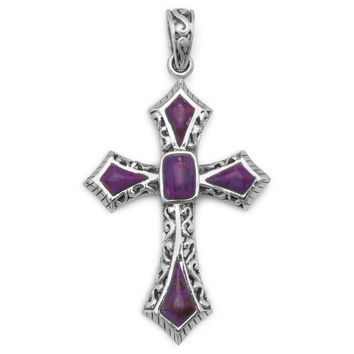 Reconstituted Dyed Purple Turquoise Cross Pendant in Sterling Silver