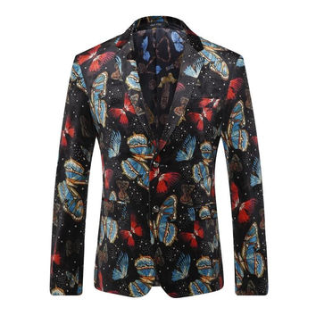 Casual Suit for Men Printed Butterfly European Style Formal Suit High Quality Personality Suit Brand Suit Blazer Coat Gent Life