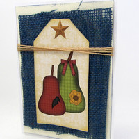 Primitive Pear Card - Rustic Card - Autumn Card - Fall Colors - Blank - Rustic Accents - Blue Burlap - Tag
