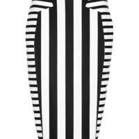 Striped Neoprene Midi Skirt