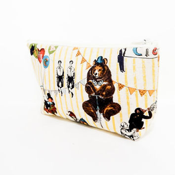 Fabric Zipper Pouch, Vintage Circus Pouch, Pencil Case, Pencil Pouch, Toiletry Bag, Canvas Zipper Case, Pouch, Cosmetic Bag, Zipper Case
