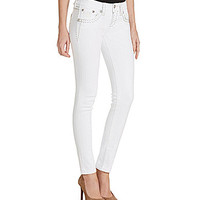 Miss Me Thick-Stitch Skinny Jeans - White