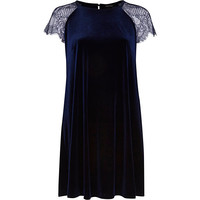 River Island Womens Navy velvet lace sleeve swing dress