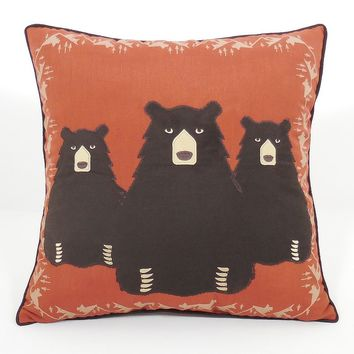 Bear Hug Throw Pillow (Brown)