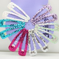 12 Pcs/lot multi color glitter snap hair clips hairpins girl's gifts shinny hairgrips fashion bling headwear hair accessories