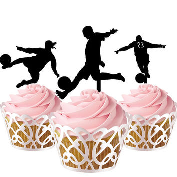 6 pcs in one set footballer CupCake toppers for party decor, fotball cupcake toppers acrylic,  topper for birthday, kids birthday cake decor