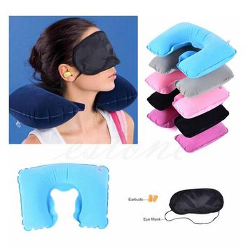 Radom Color 1 set of Travel Kit Inflatable U shape Neck Pillow+eye mask+Ear Plugs grey and blue ostrich pillow cushion