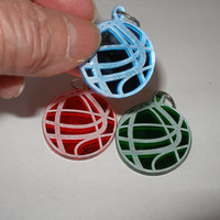 Small ornament set of three red green light blue  swirls design  acrylic laser engraved and cut tie ons