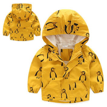 2016 New Autumn Fashion Children boys Hooded Coat & Jackets Children Waterproof Jacket Rain Coat Windbreaker Clothes
