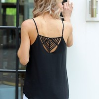 Pretty Tank with Cool Back Detail-Karlie Nyella Strappy Tank-Black-$64.00 | Hand In Pocket Boutique