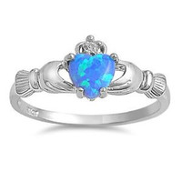.925 Sterling Silver Blue Opal Claddagh Ring Size 3-12