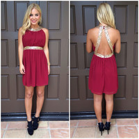 Queen Of The Party Sequin Dress- BURGUNDY