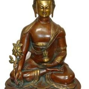 Solid Brass Sitting Buddha Statue From India 20 Inch