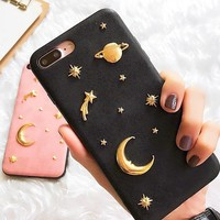 High end star moon phone case shell  for iphone 6/6s,iphone 6p/6splus,iphone 7/8,iphone 7p/8plus, iphonex