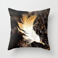 Feather alone Throw Pillow by LoRo  Art & Pictures