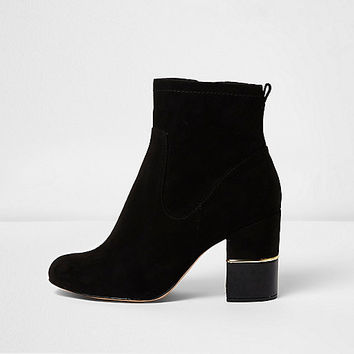 Black wide fit block heel ankle boots - Boots - Shoes & Boots - women