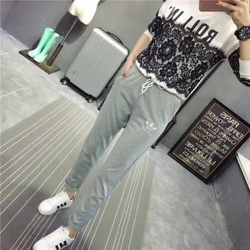 Adidas Women Sport Casual Straight Cylinder Sweatpants Leisure Pants Trousers