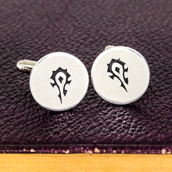 Horde Cuff Links - Video Game Gift - Warcraft - Aluminum Cuff Links