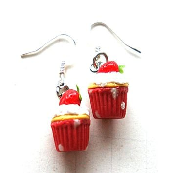 Strawberry Cupcakes Dangle Earrings