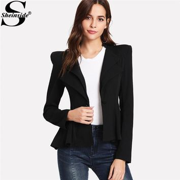 Sheinside 2018 Notched Collar Long Sleeve Blazers Black Structured Shoulder Layered Collar Peplum Jacket Women Elegant Blazer