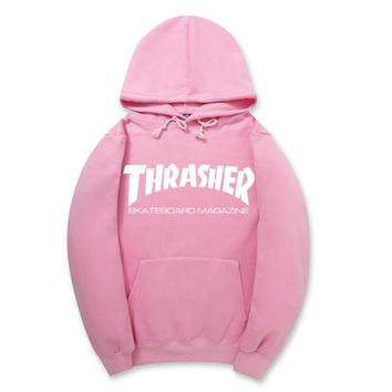 ThrasherNew flame thickening hoodies sweater Two lines of letters Pink