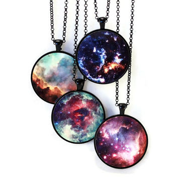 Nebula Necklace Science Jewelry - Celestial, Universe, Astronomy - Omega, Unicorn's Rose, Cosmic Cloud, Small Magellanic Cloud - Gifts!