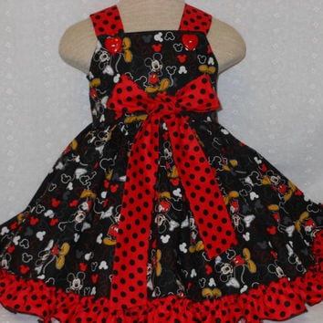 NEW, Mickey and Minnie Mouse Girls Dress, Baby Mickey Dress, Toddler Mickey Dress szs. 6m to girls 8, From My Princess and her doll