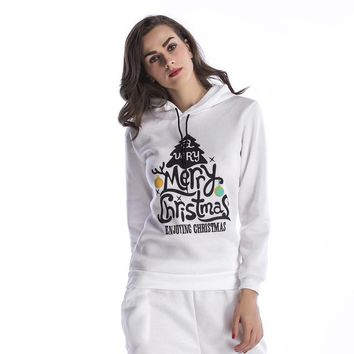 Christmas Tree Letter Pattern Print Loose Casual Thickened Long Sleeve Hooded Sweater Women Tops