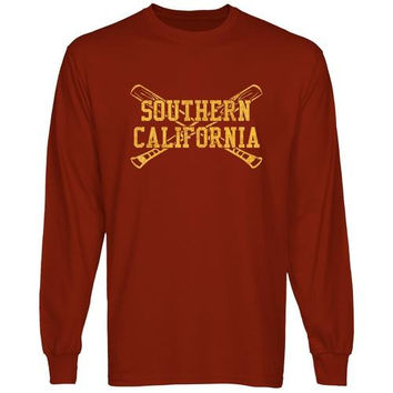 USC Trojans Crossed Sticks Long Sleeve T-Shirt - Cardinal