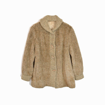 Vintage 70s Collared Faux-Fur Coat / 70s Outerwear / Toggle Coat - women's medium