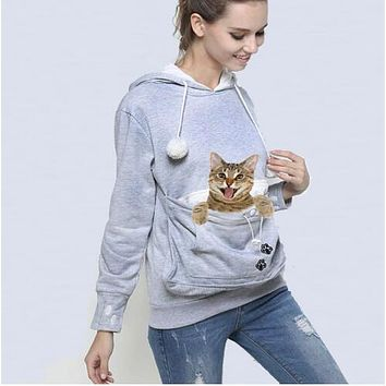 Cat Ear Hoodie With Pet Pouch And Paw Decoration